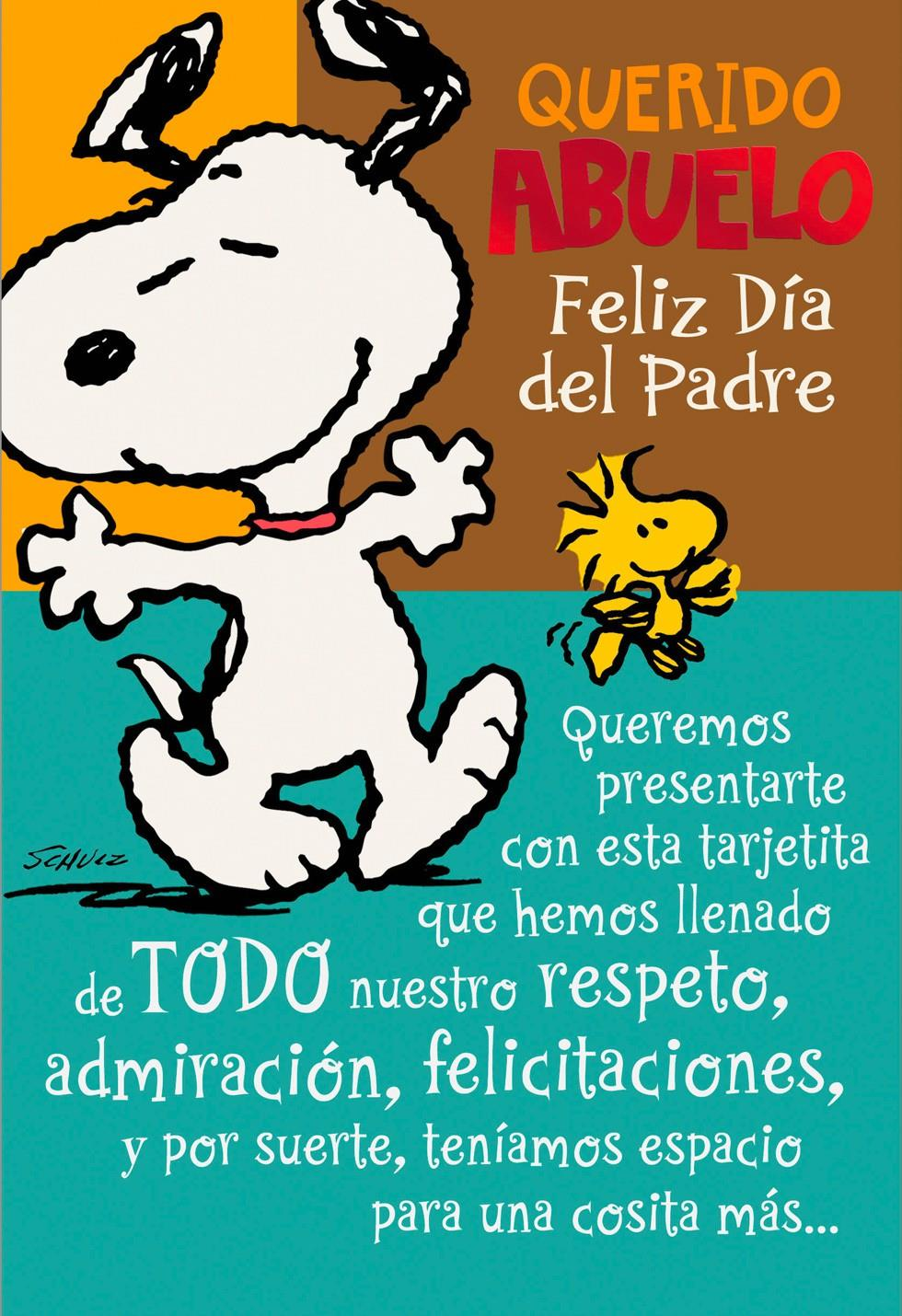 Snoopy and Woodstock Grandpa Spanish Father\'s Day Card - Greeting ...