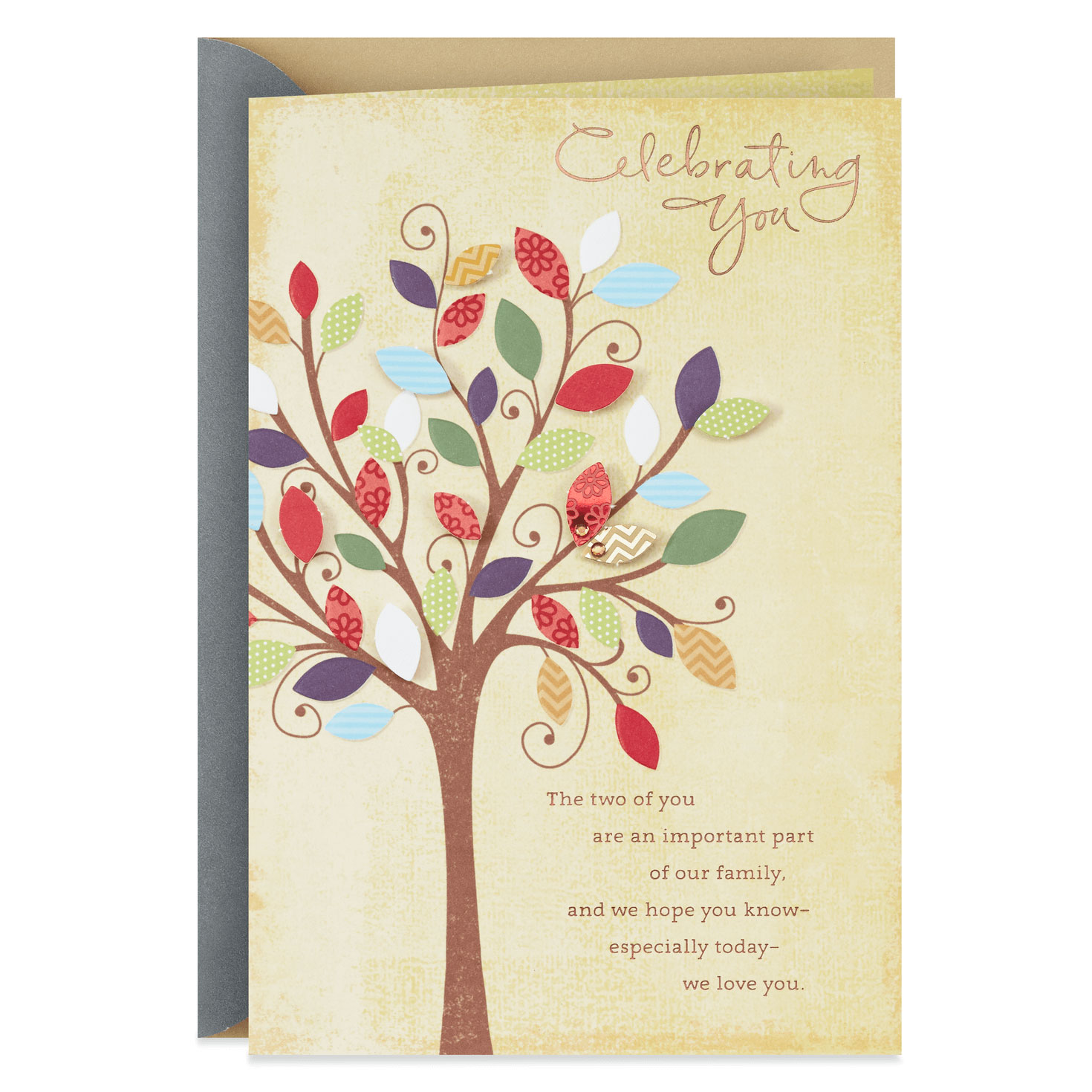 family tree anniversary card for son and daughterinlaw