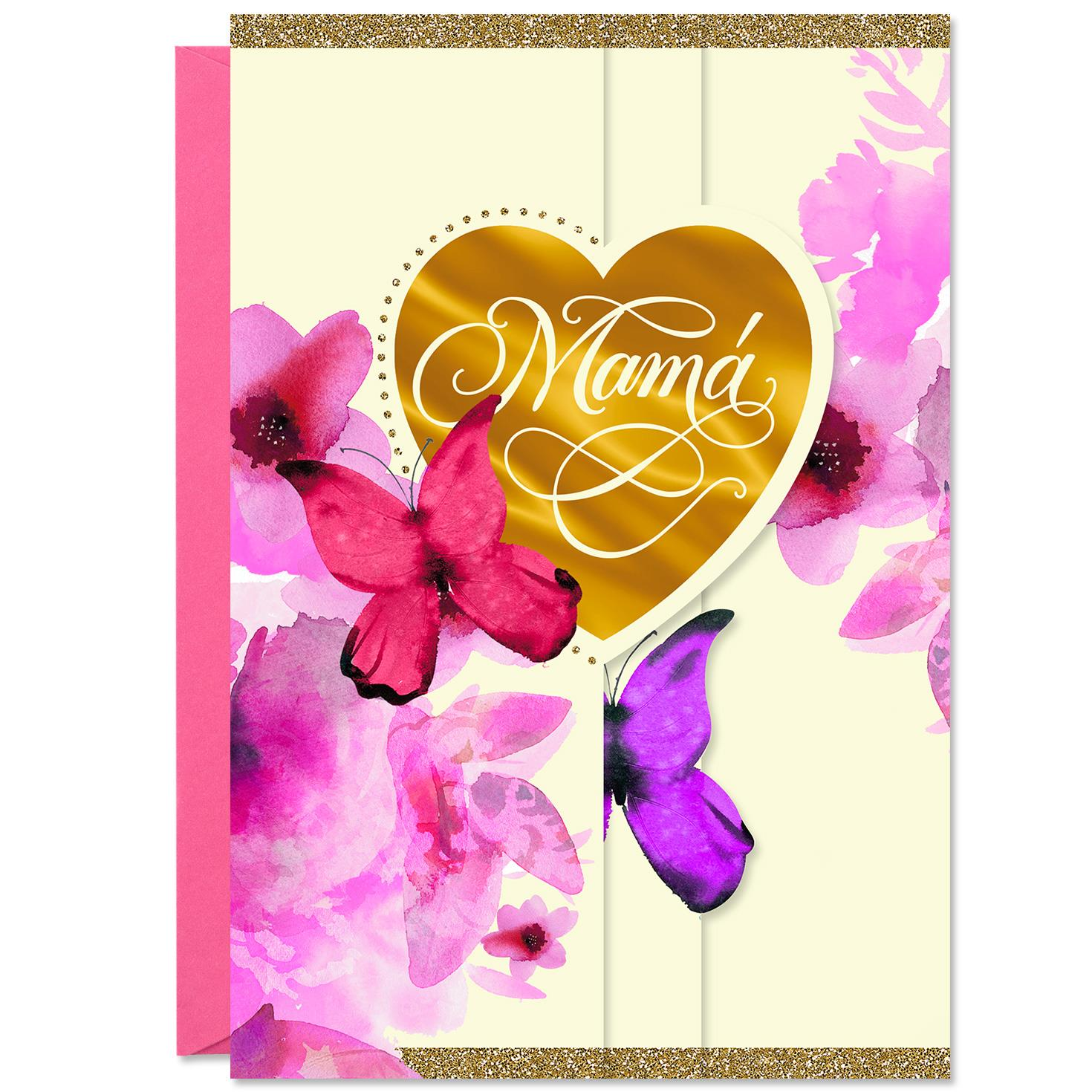 Butterfly Wishes Spanish Language Birthday Card For Mom Greeting