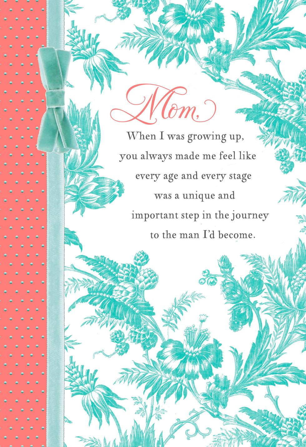 Toile Print Birthday Card For Mom From Son