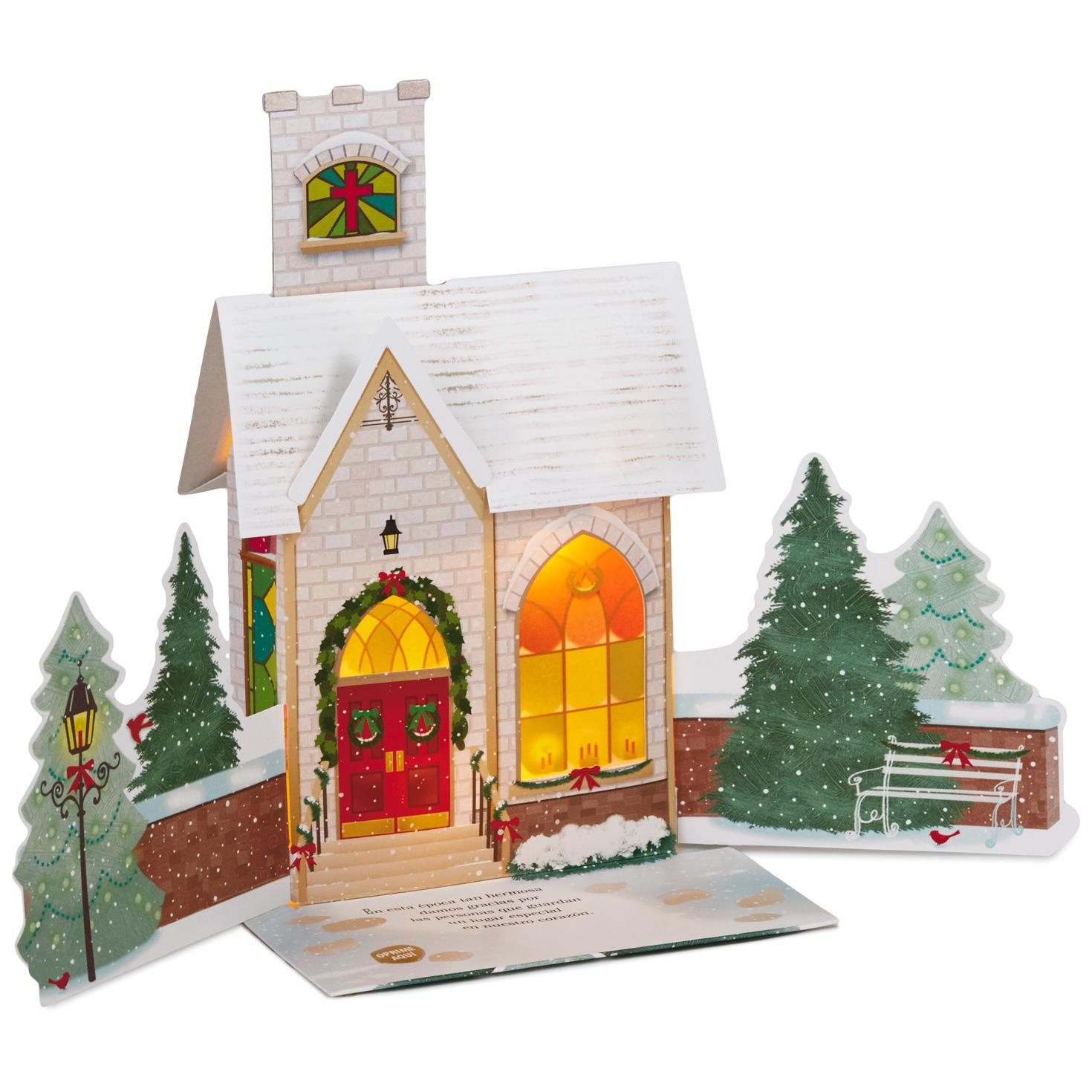 Snowy Church Spanish-Language Pop Up Musical Christmas