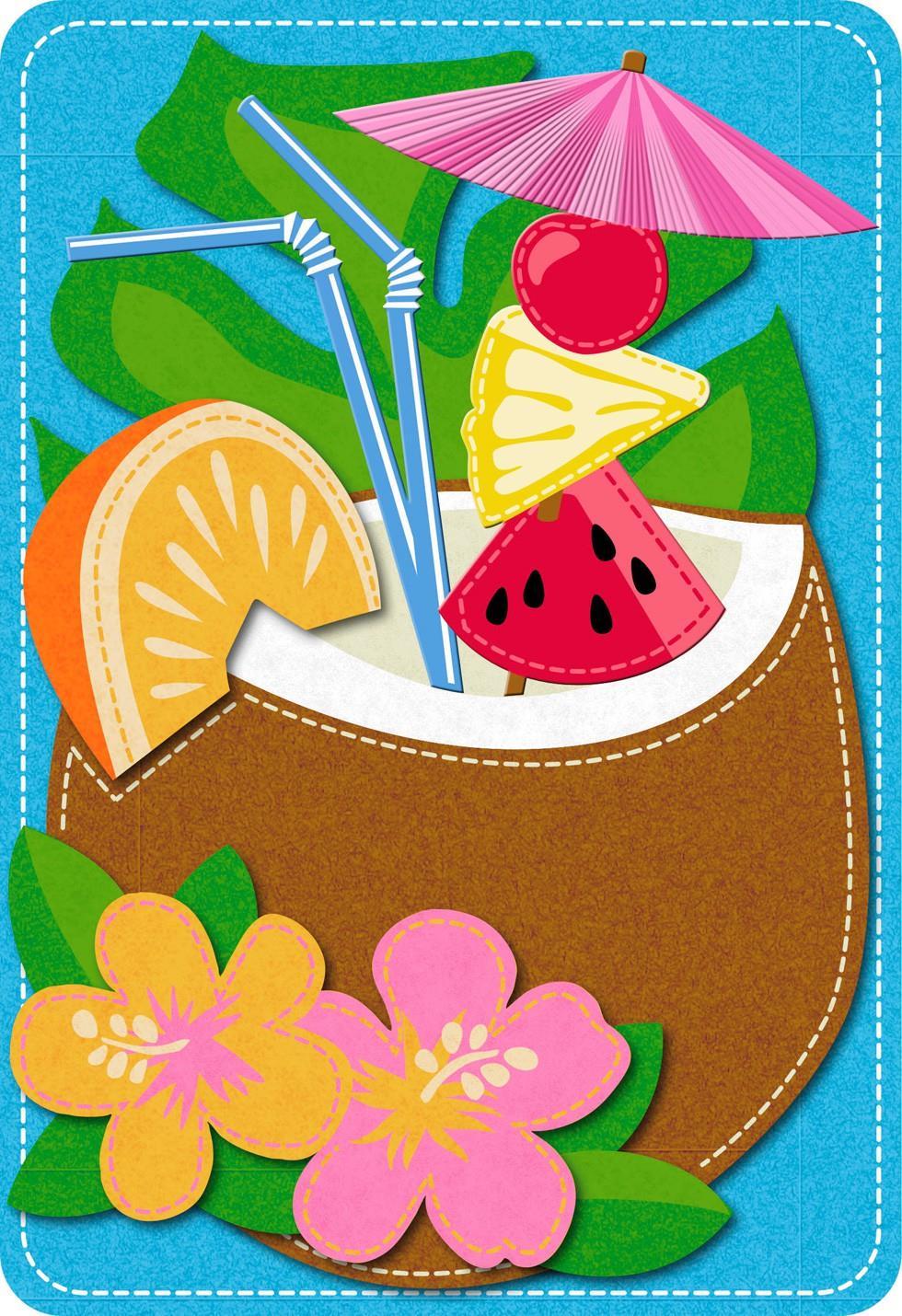 coconut cocktail felt musical birthday card  greeting