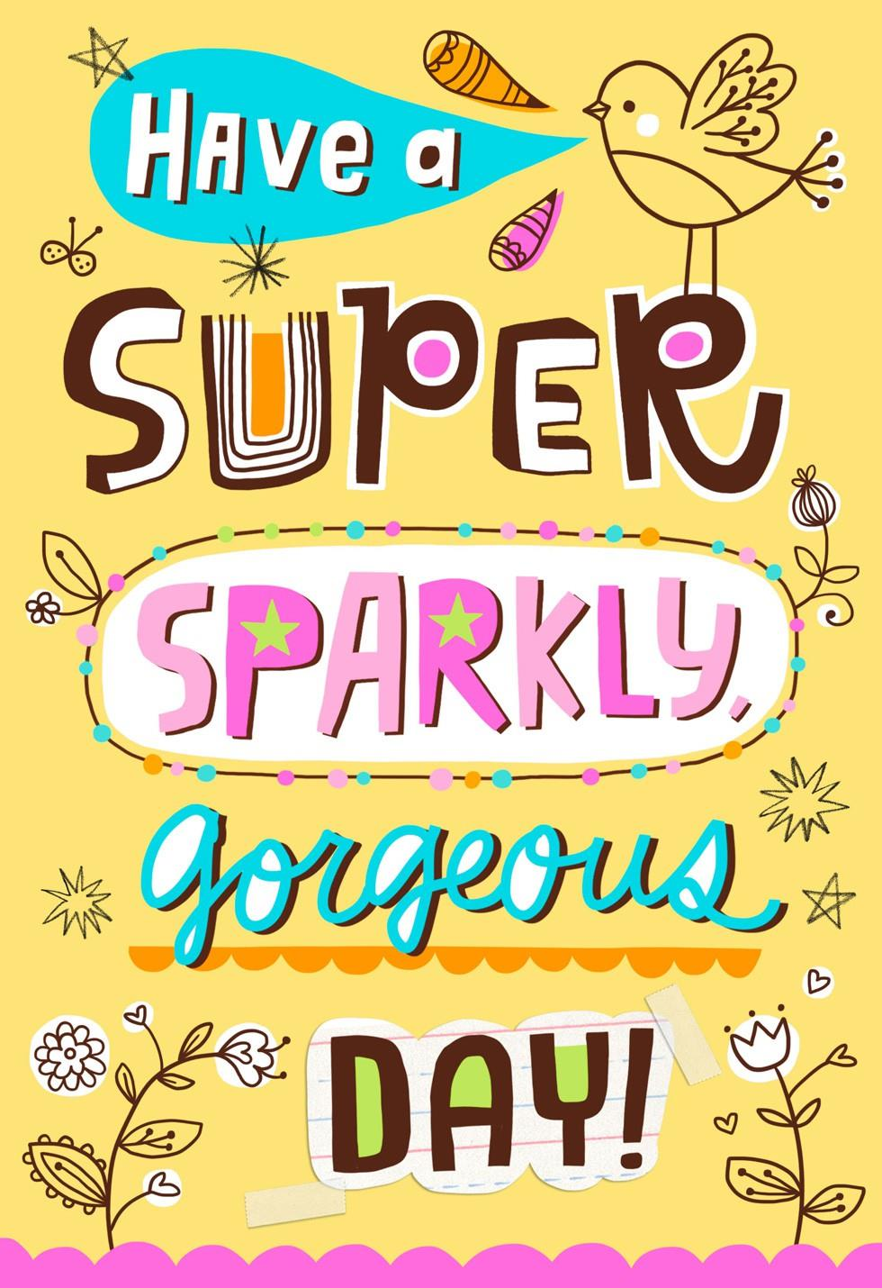 Super Sparkly Gorgeous Day Birthday Card Greeting Cards