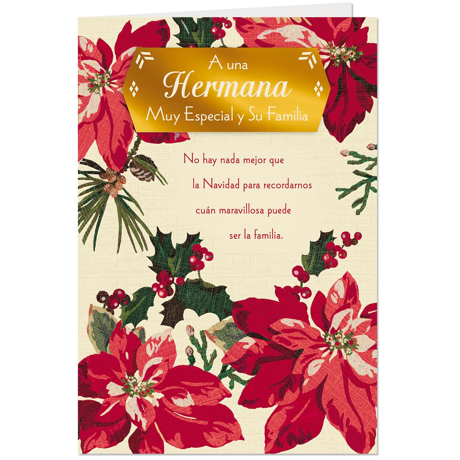 Poinsettias Spanish-Language Christmas Card for Sister and ...