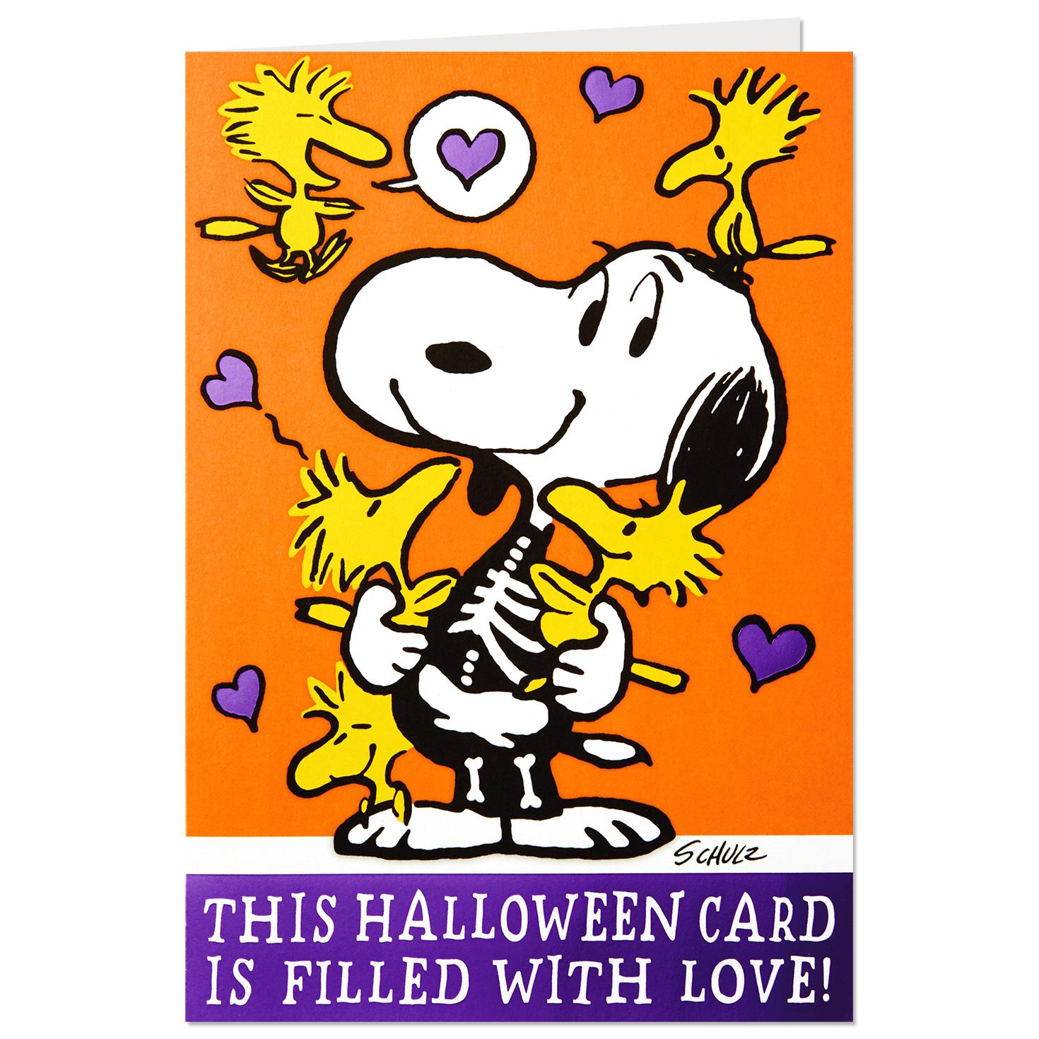 peanuts snoopy and woodstock pop up funny halloween card greeting