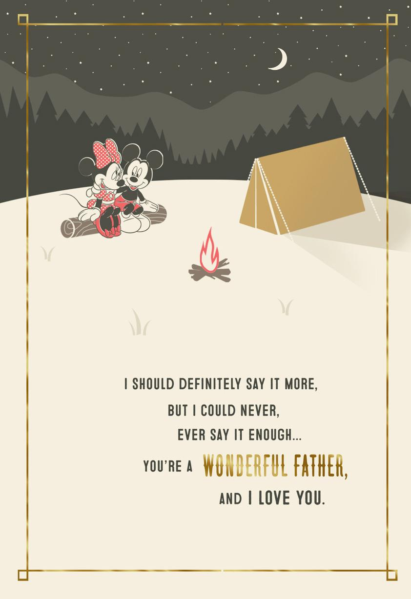 Mickey and Minnie Campfire Romantic Pop Up Father's Day Card | Tuggl