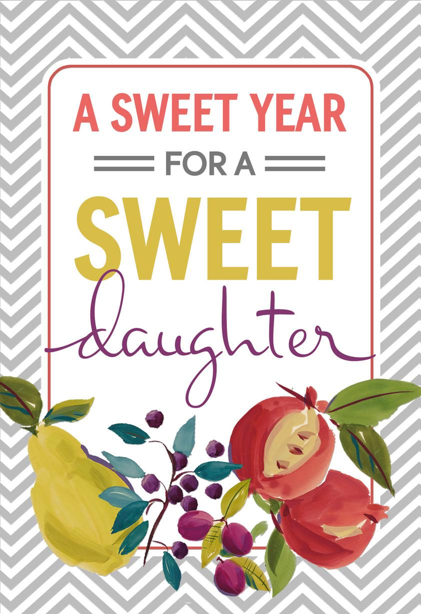 Here S To A Sweet Year Rosh Hashanah Card For Daughter