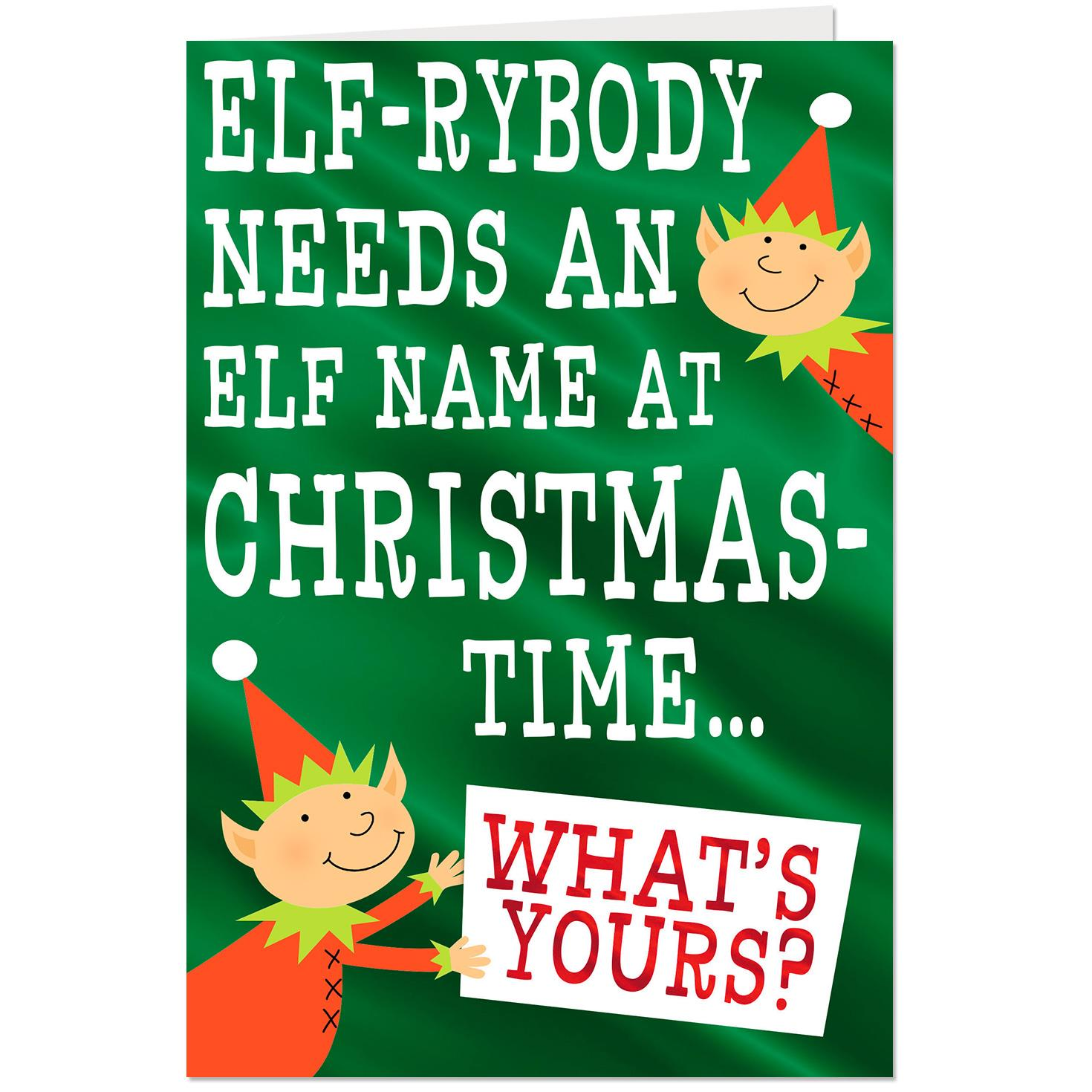Pick Your Elf Name Christmas Card With Game Greeting Cards Hallmark