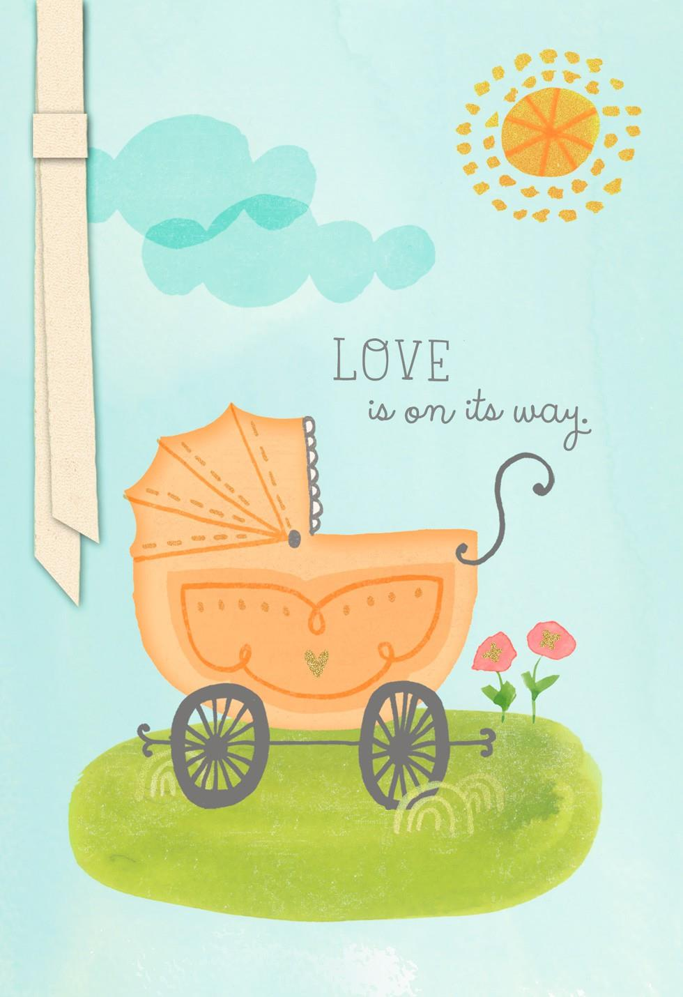 Carriage New Baby Congratulations Card Greeting Cards