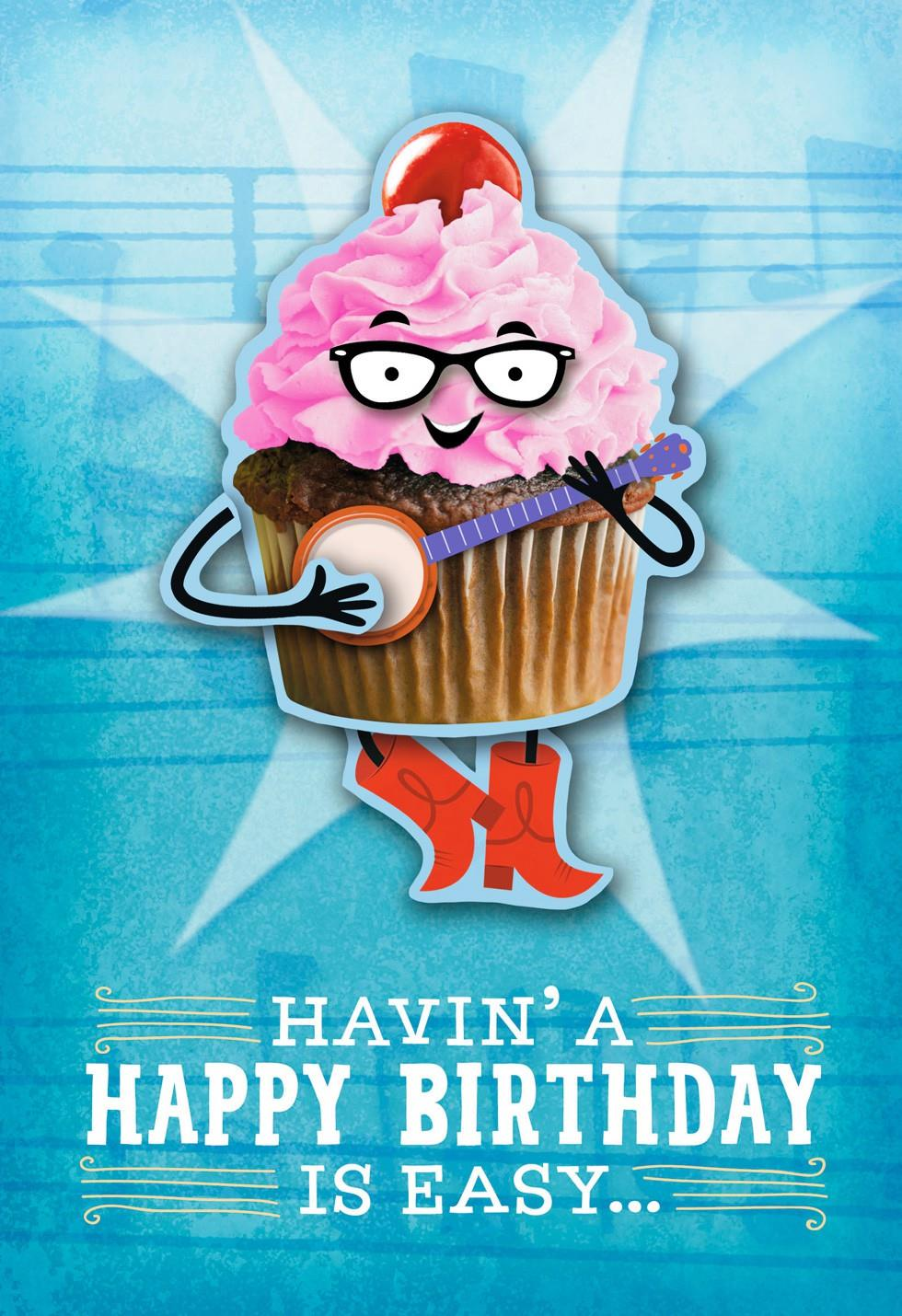 Banjo Cupcake Musical Birthday Card With Motion Greeting Cards – Happy Birthday Card with Song