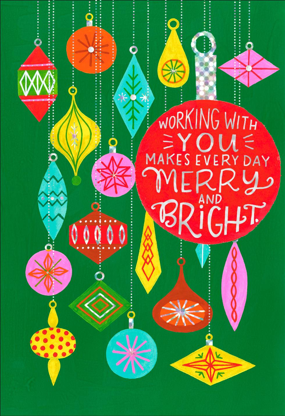 Colorful Ornaments Christmas Card for Coworker - Greeting ...