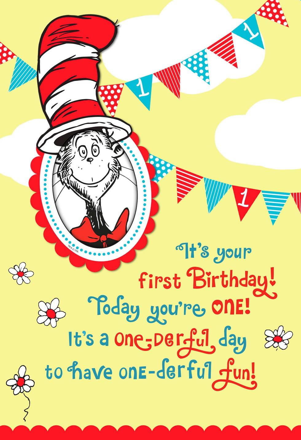Dr Seuss Cat in the Hat 1st Birthday Card With Photo Holder – Dr Seuss Birthday Card