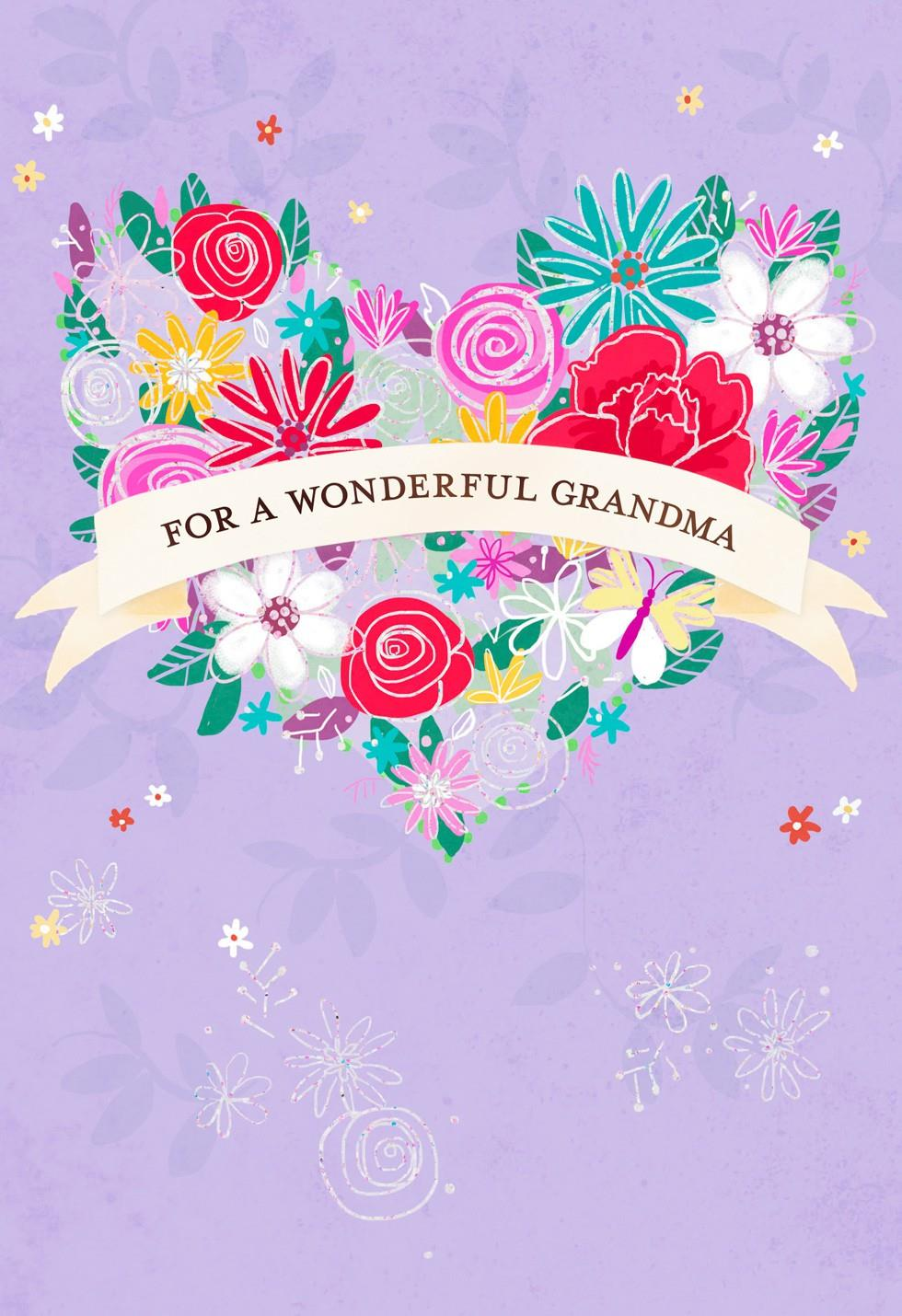 Heart Shaped Bouquet Grandparents Day Card For Grandma Greeting