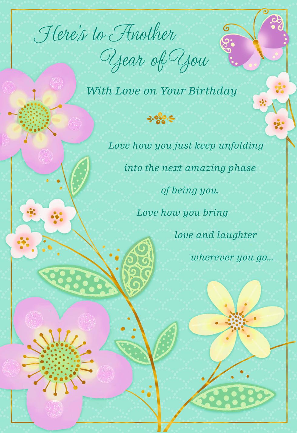 Another Year Of You Pink Flowers Birthday Card Greeting Cards