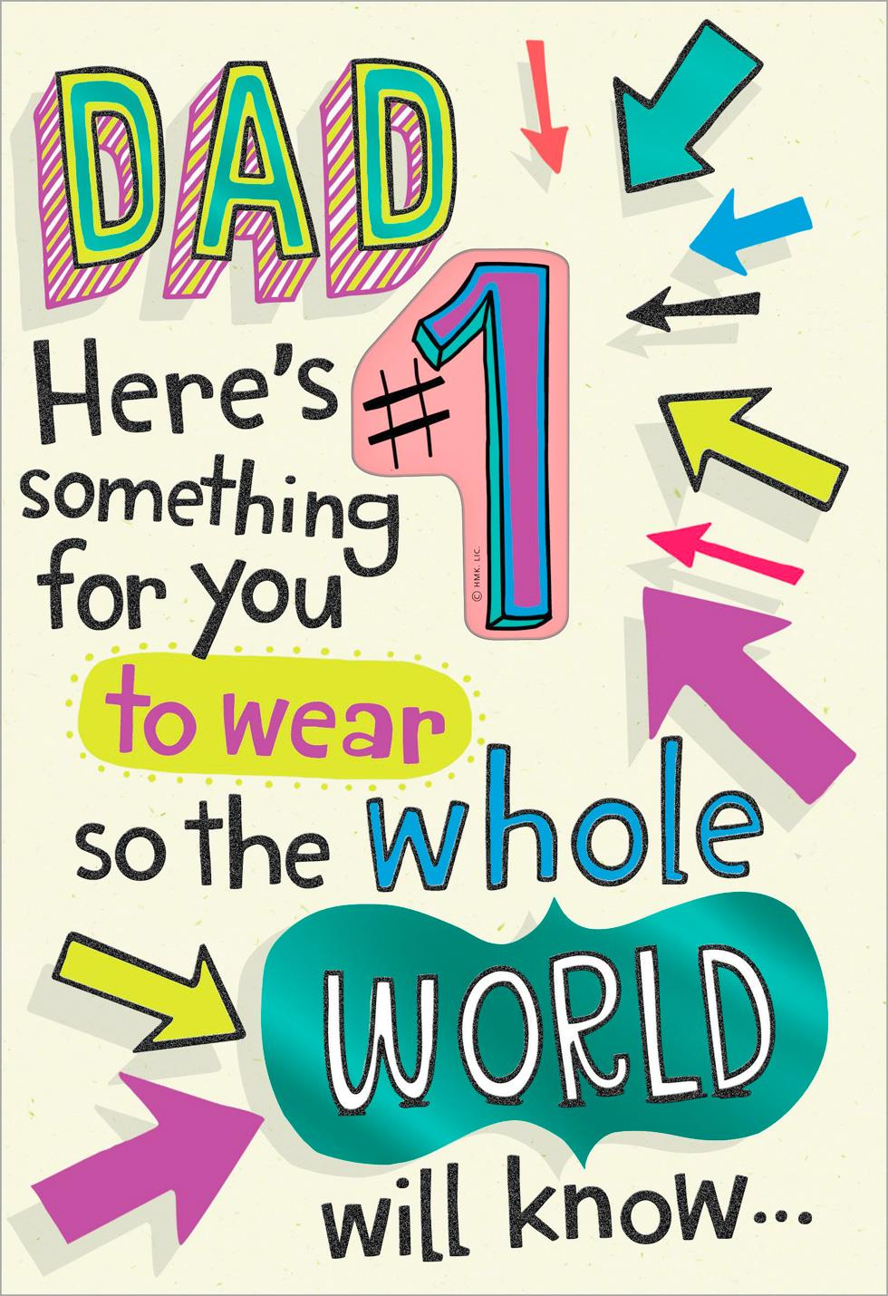 A 1 Daughter Funny Birthday Card With Button Pin For Dad Greeting