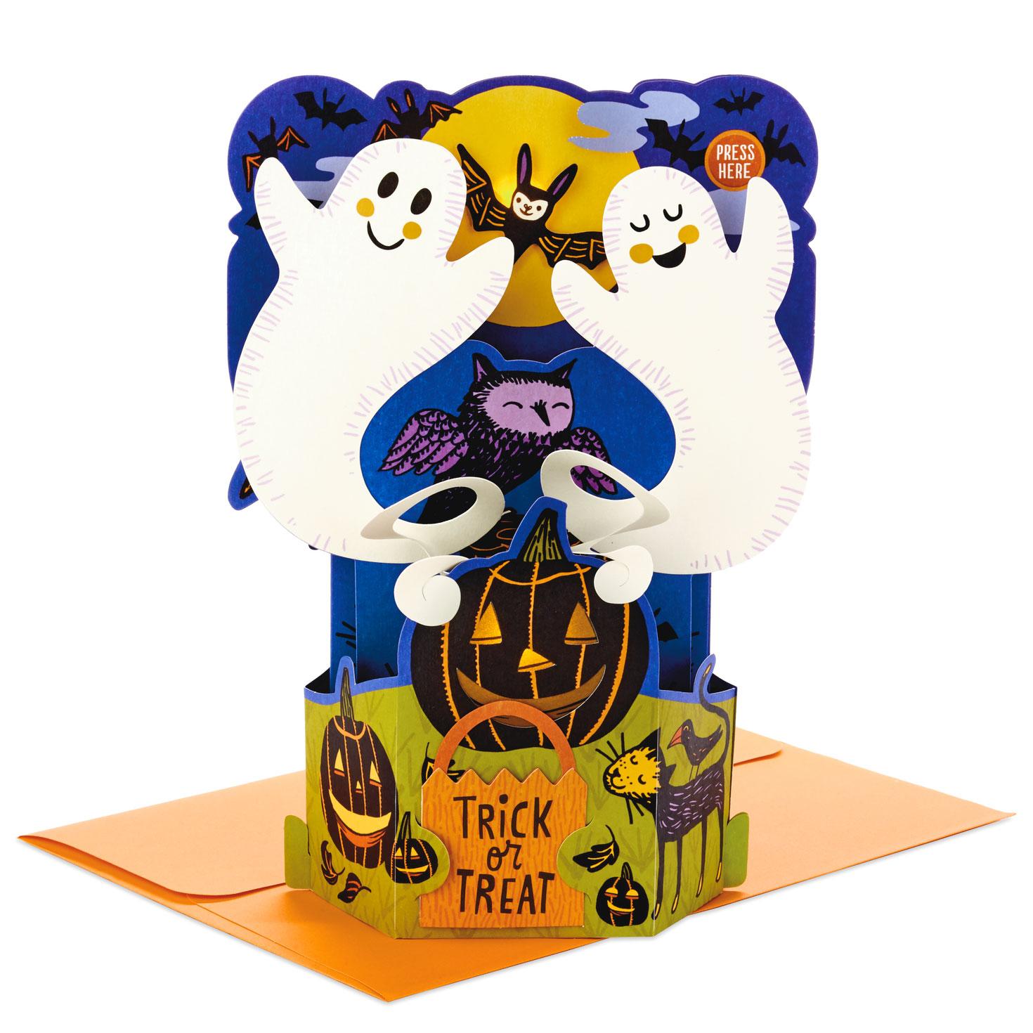 Halloween Pop.Spooky Scene 3d Pop Up Musical Halloween Card With Light
