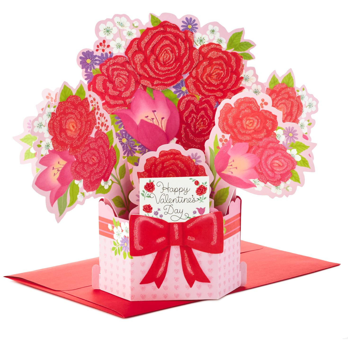 Flower bouquet pop up valentine 39 s day card greeting Hallmark flowers