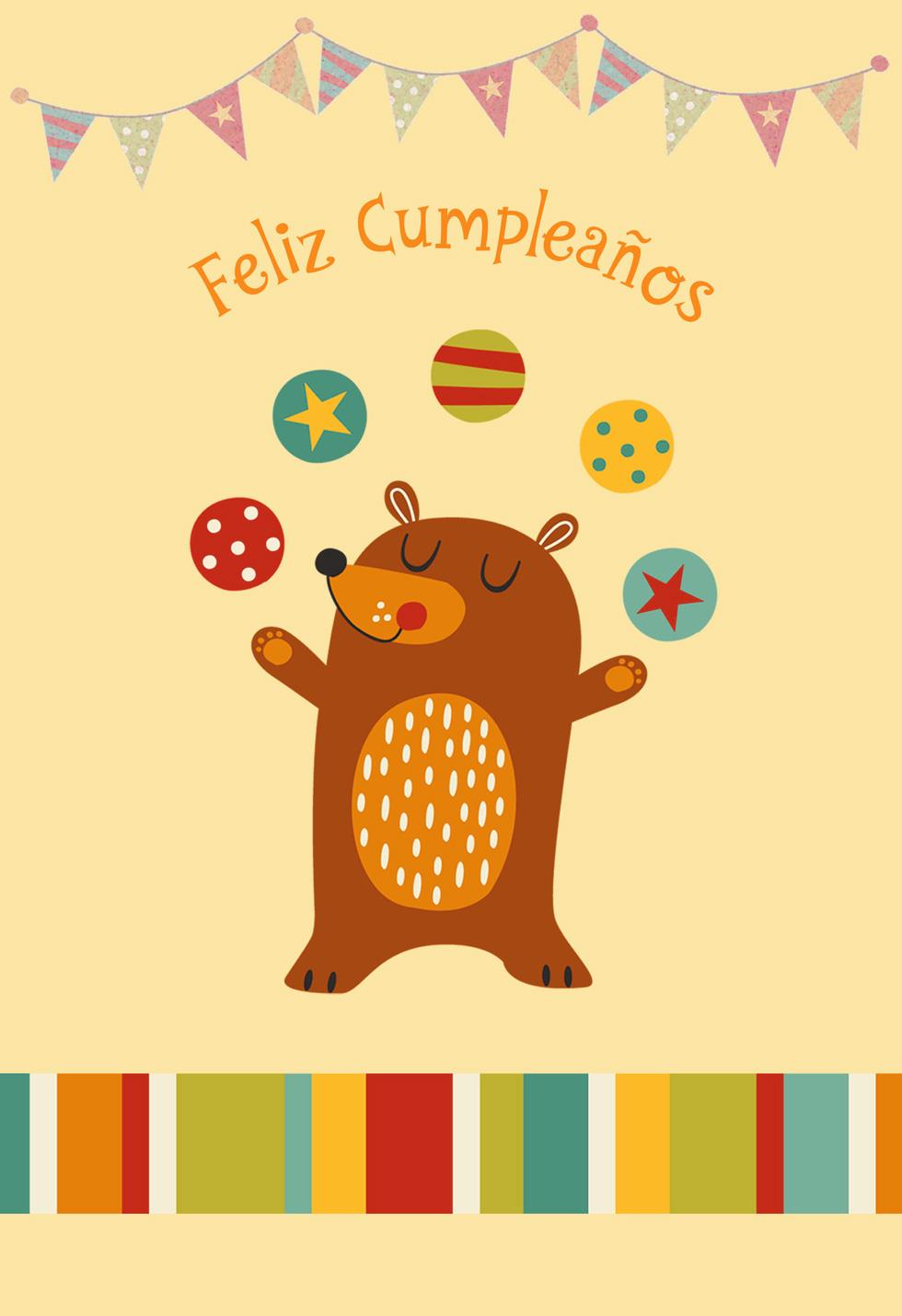 Juggling Bear Spanish Language Birthday Card For Child