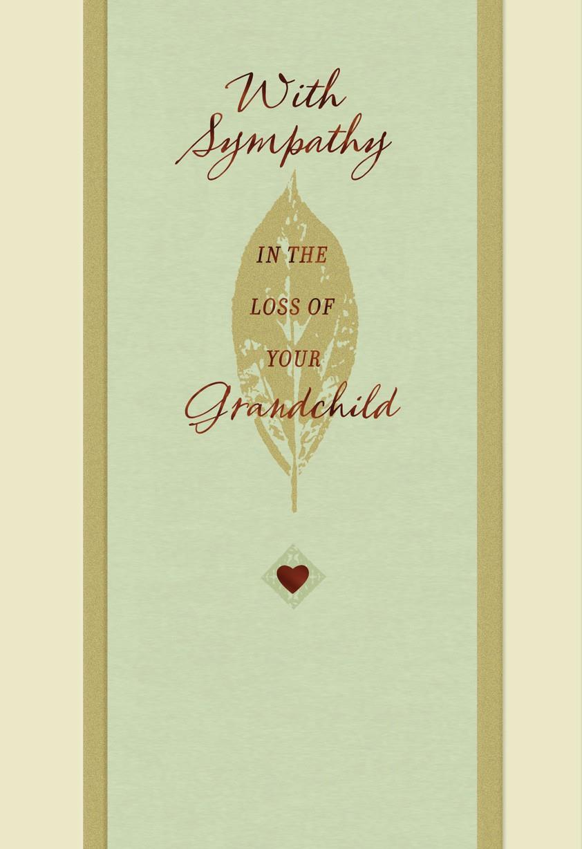 Bronze Leaf Loss Of A Grandchild Sympathy Card Greeting