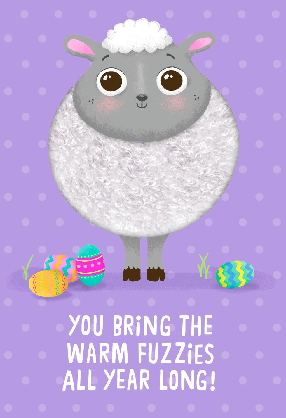 Fuzzy Lamb Warm Fuzzies Easter Card For Kids Greeting