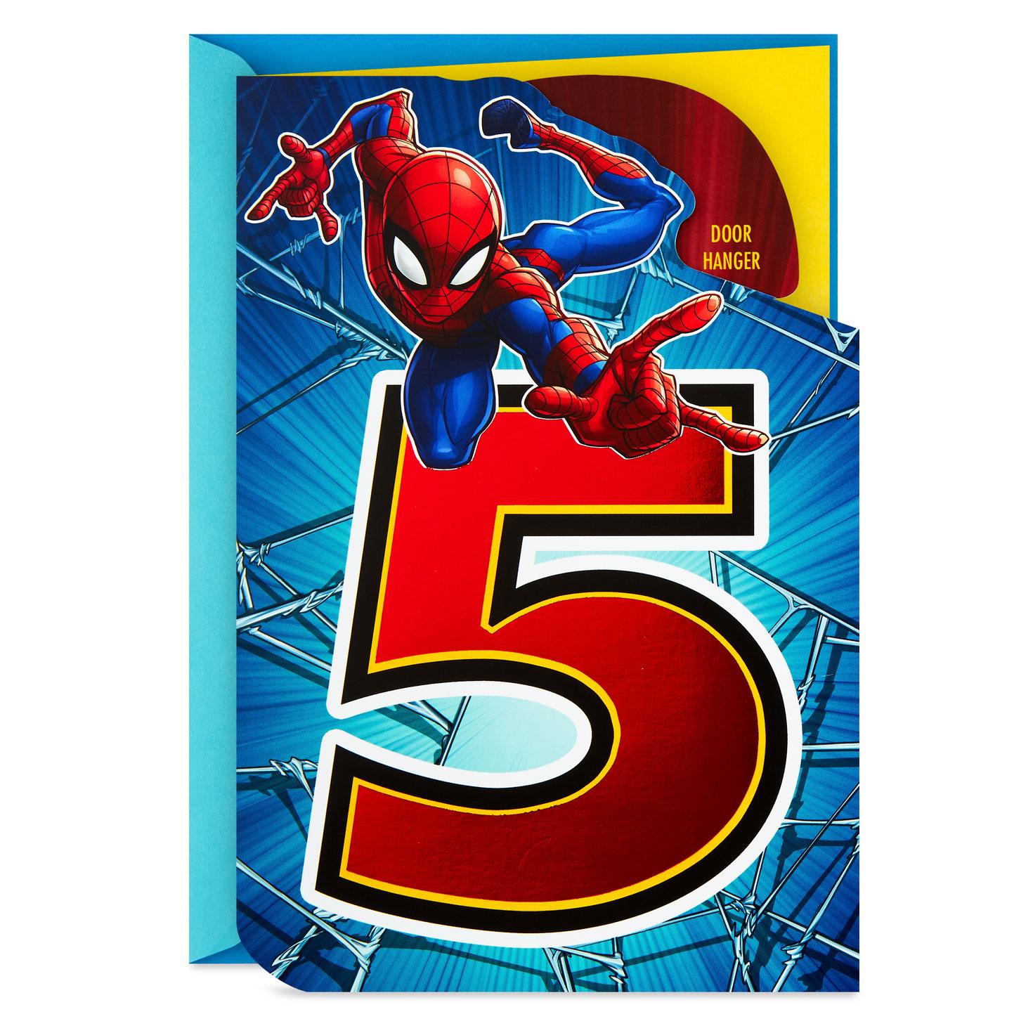 Baby Love Logo: Marvel Spider-Man 5th Birthday Card With Door Hanger