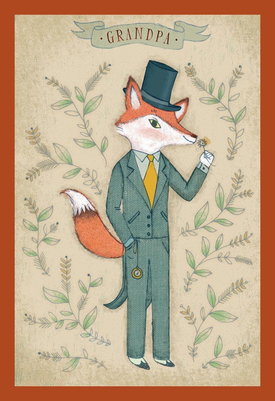 Dapper Fox Birthday Card for Grandpa | Tuggl