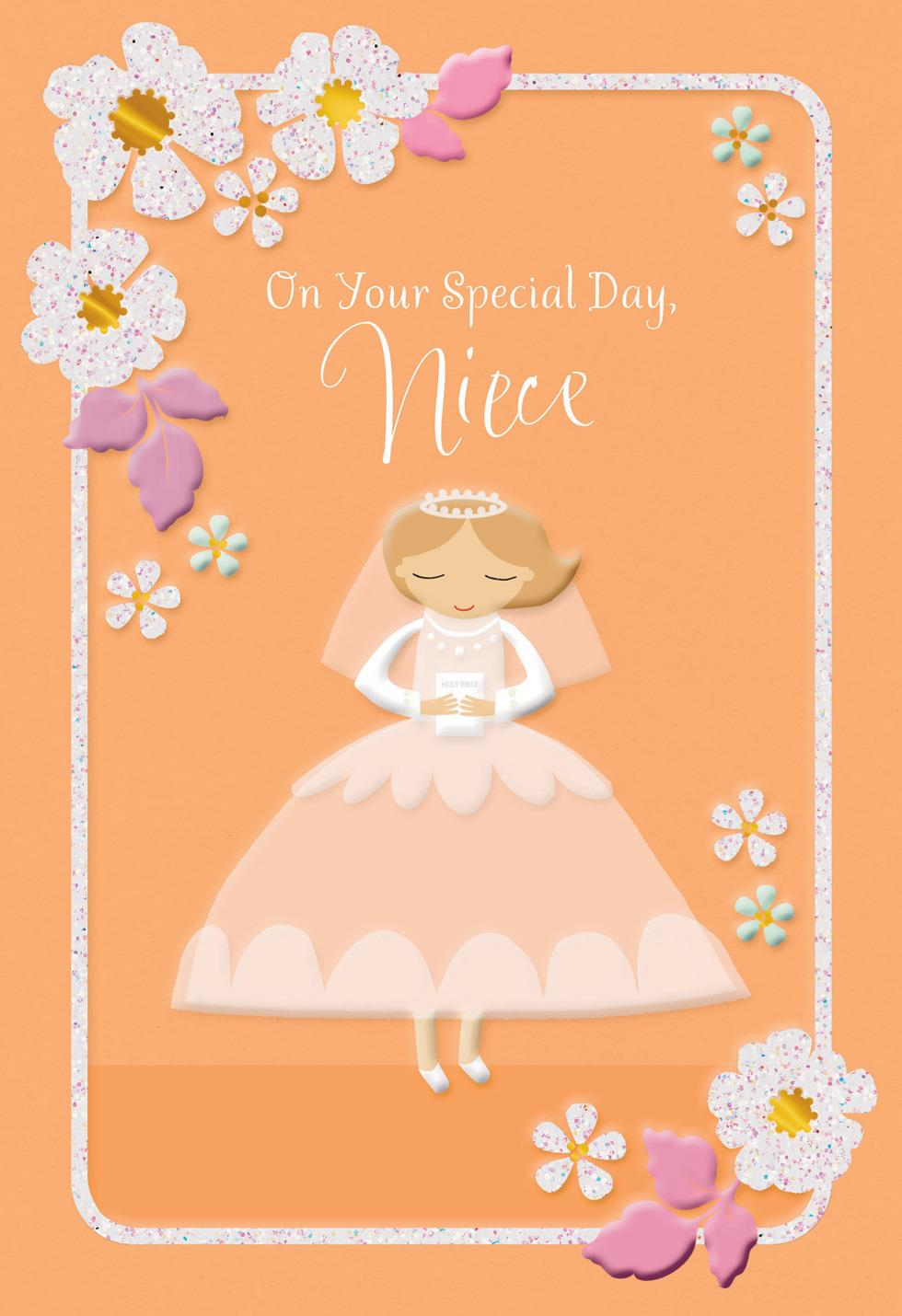 White dress and flowers first communion card for niece Hallmark flowers