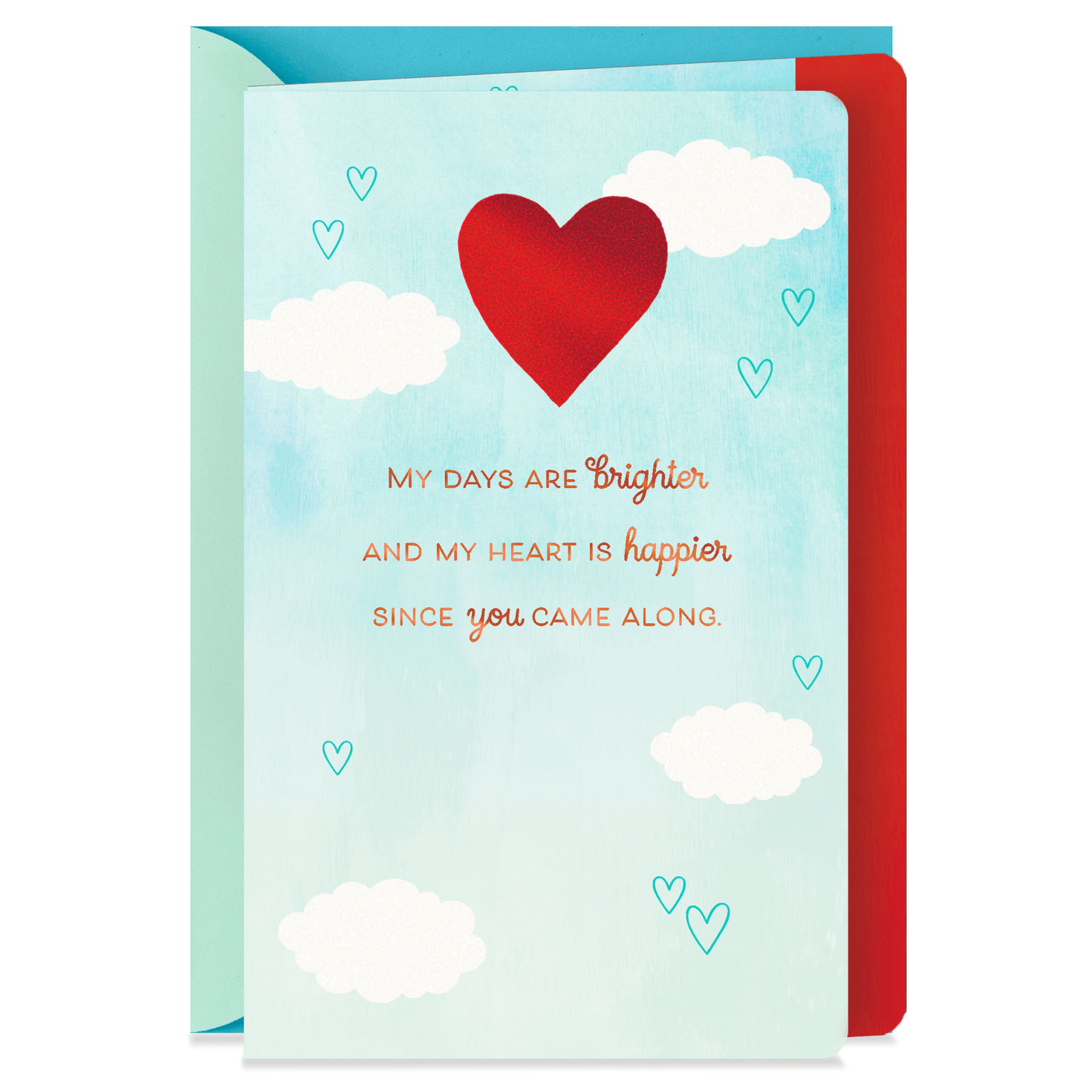 my heart is happier new relationship love card  greeting