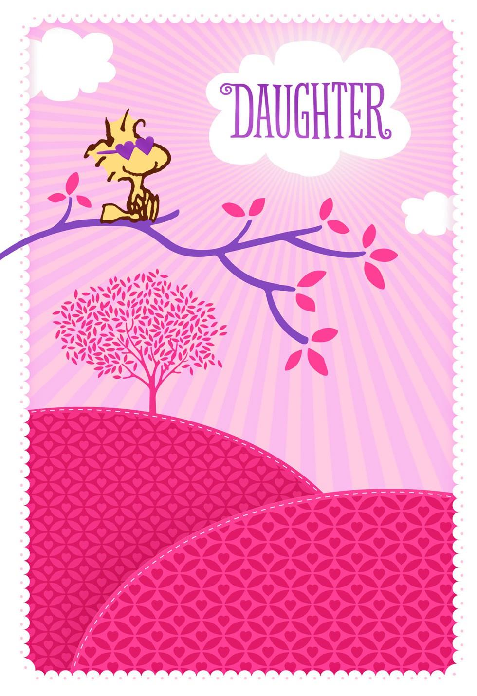 Peanuts Woodstock Sunny Daughter Valentines Day Card  Greeting