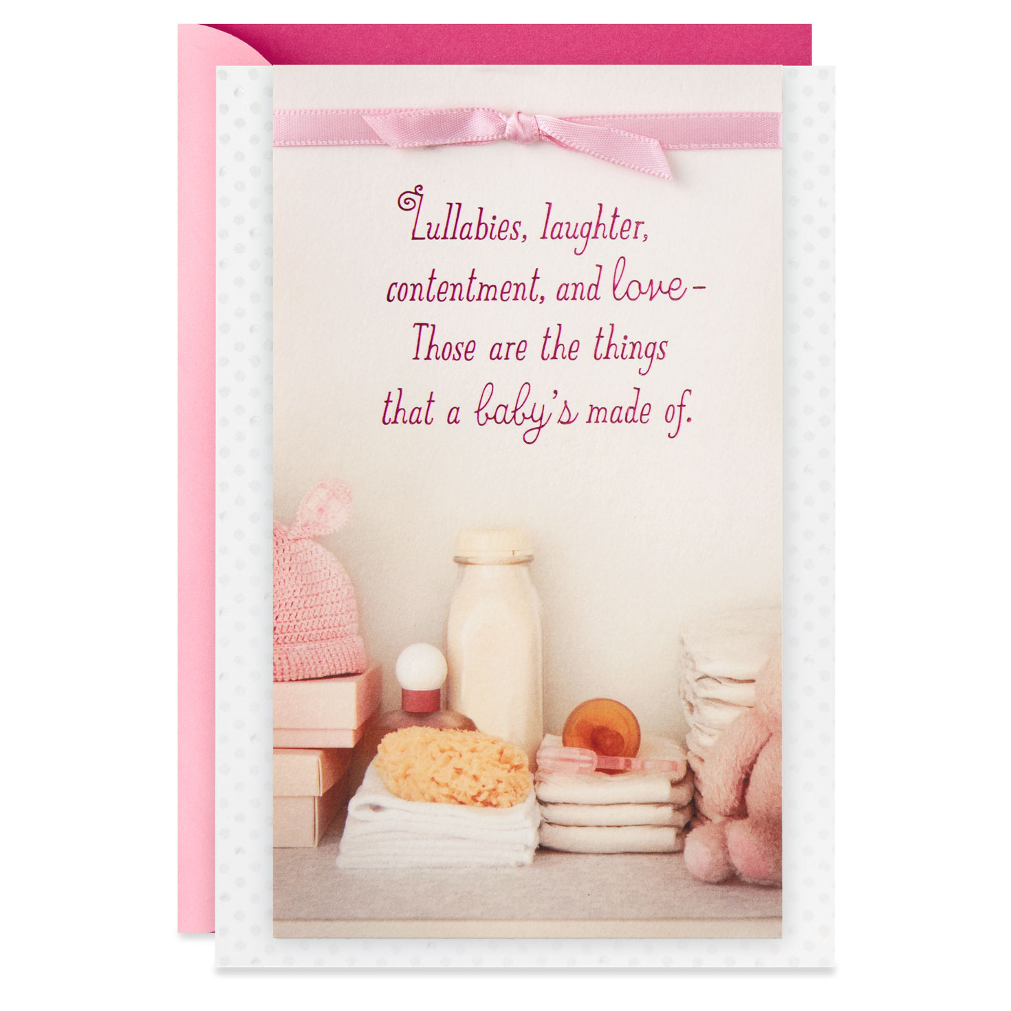lullabies and love new baby girl baby shower card