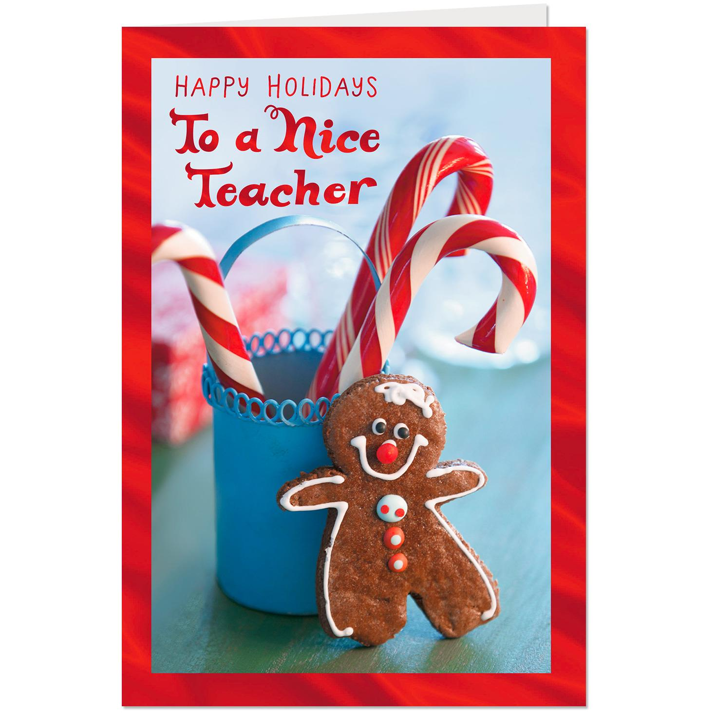 gingerbread cookie and candy canes christmas card for teacher