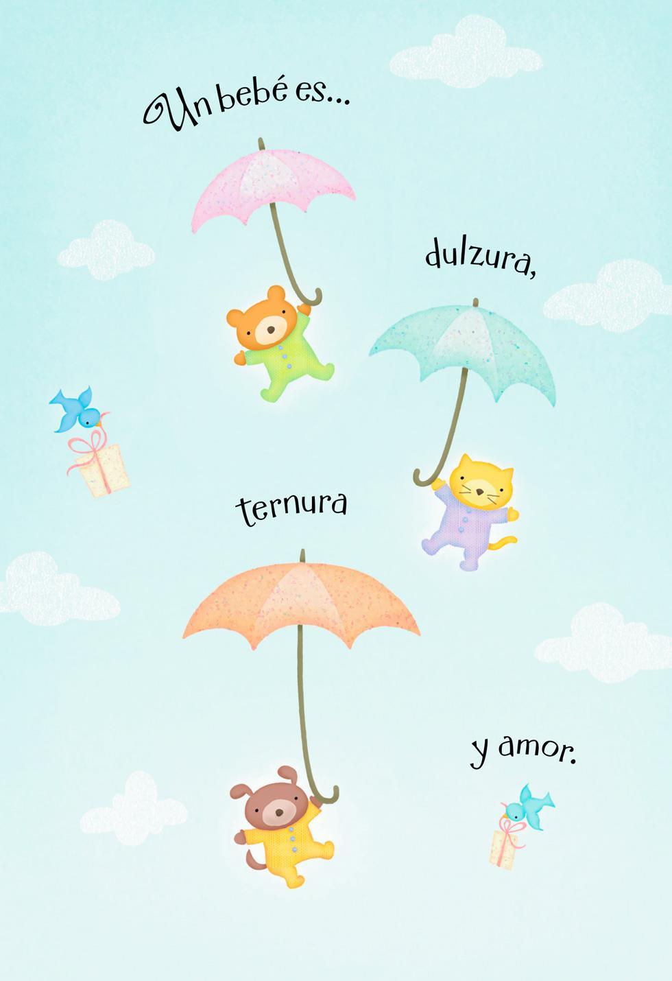teddy bear umbrellas spanish language new baby card greeting cards