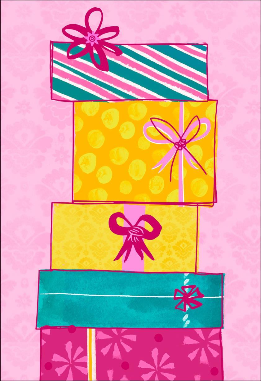 Fun Patterned Gifts On Pink Blank Birthday Card
