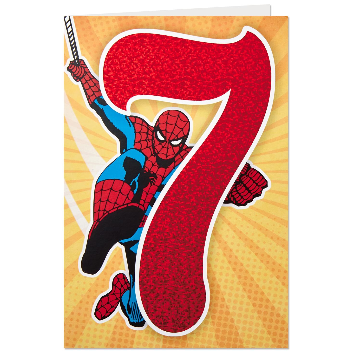 marvel spider-man 7th birthday card