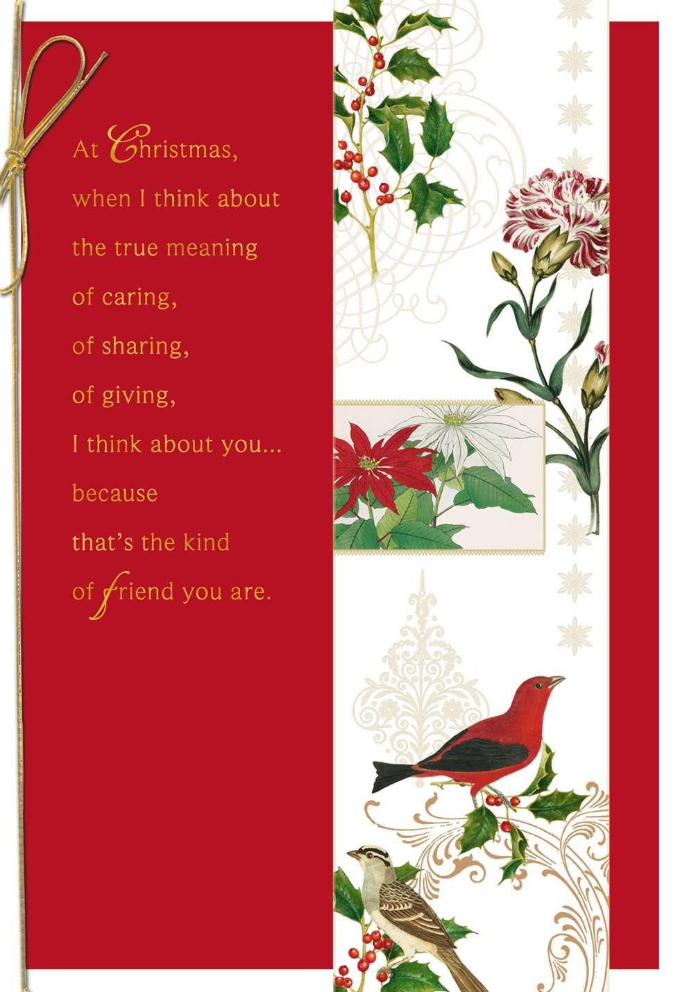 Blooms And Birds For A Special Friend Christmas Card