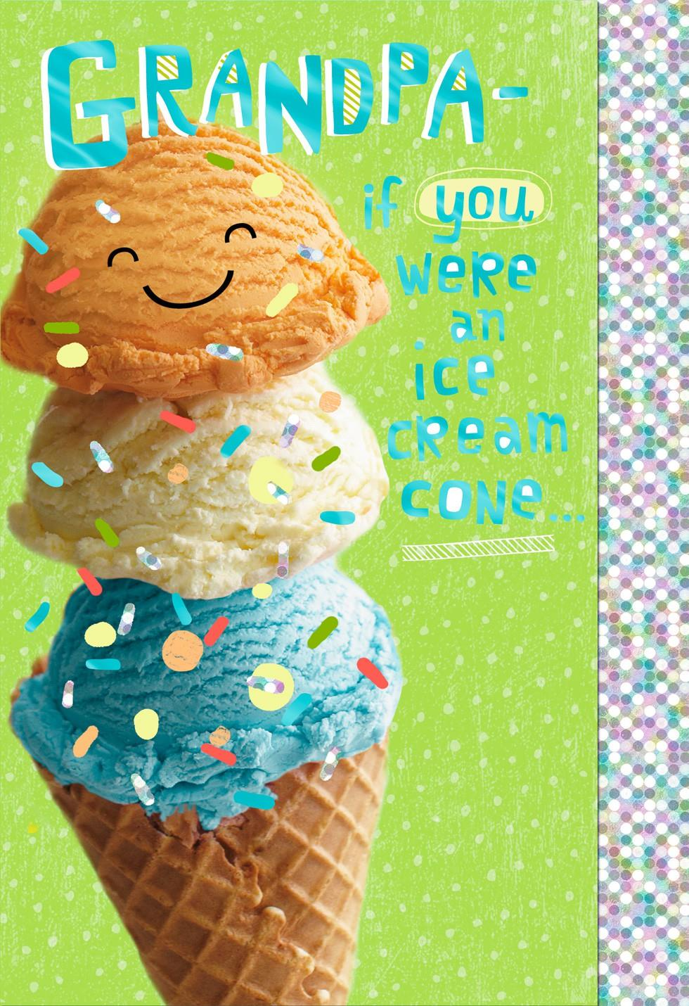 triple scoop ice cream cone father u0027s day card for grandpa