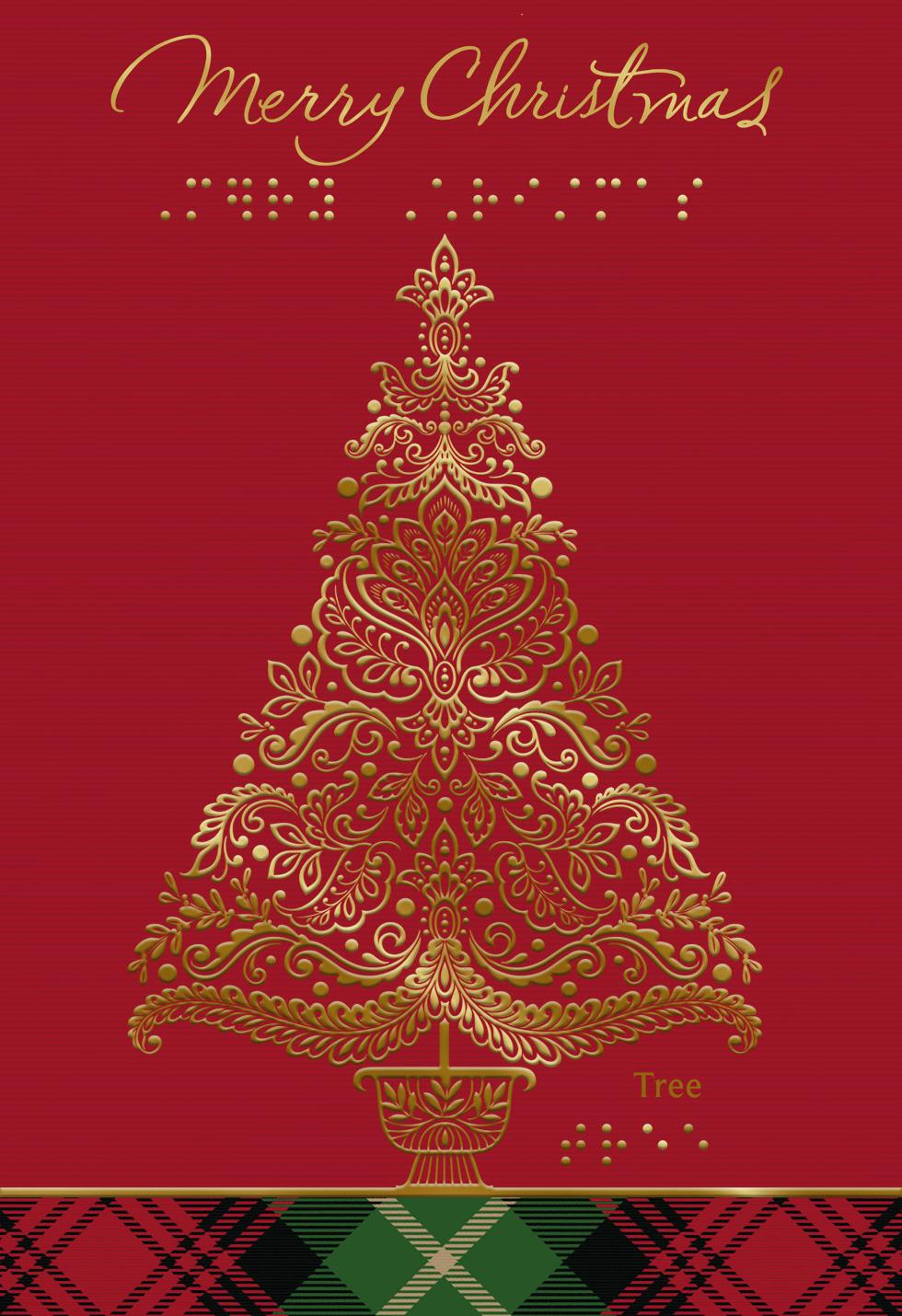 Gold tree with braille christmas card greeting cards hallmark gold tree with braille christmas card kristyandbryce Images