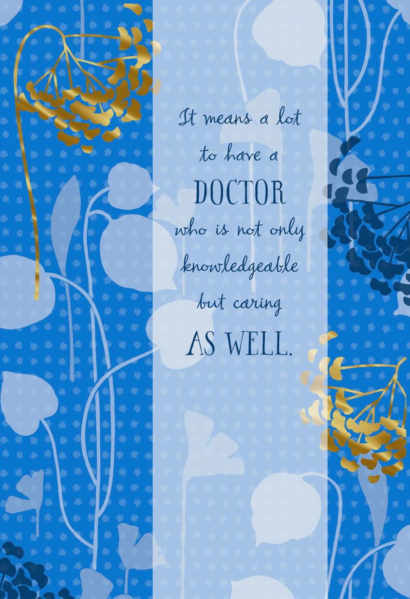 Blue And Gold Flowers Thank You Card For Doctor Greeting