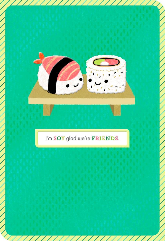 sushi pun funny blank friendship card