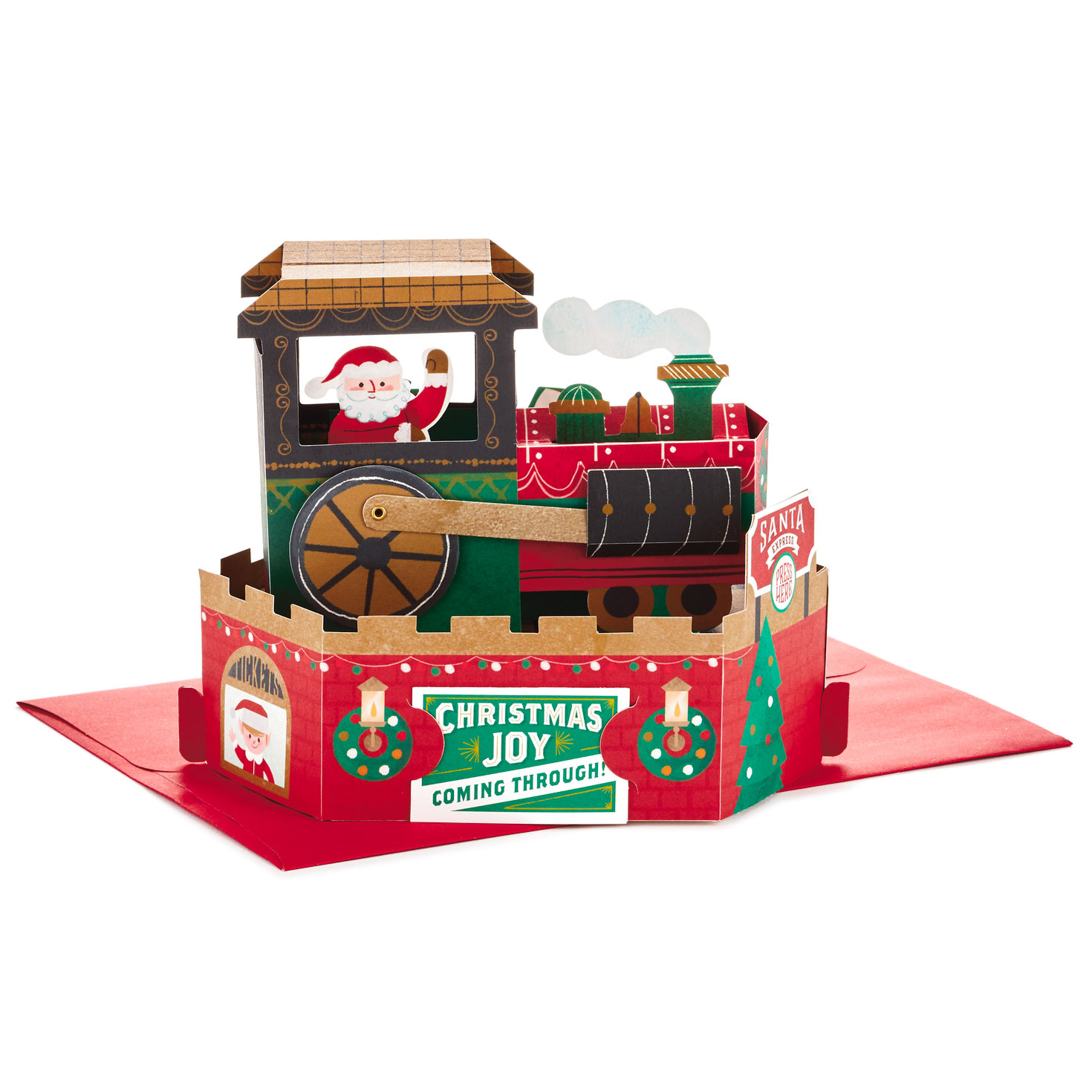 Hallmark Christmas Card ~ Musical Pop Up MOTION ~ Santa Claus Train WHEEL MOVES