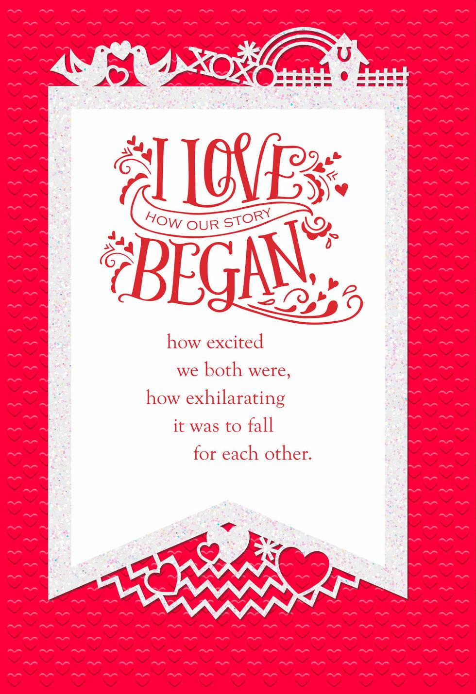 the story of us valentine's day card  greeting cards