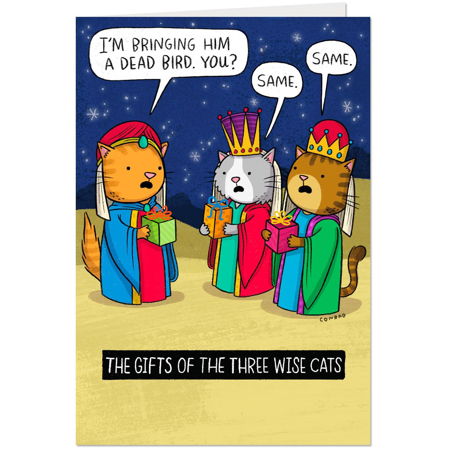 the three wise cats funny christmas card greeting cards hallmark. Black Bedroom Furniture Sets. Home Design Ideas