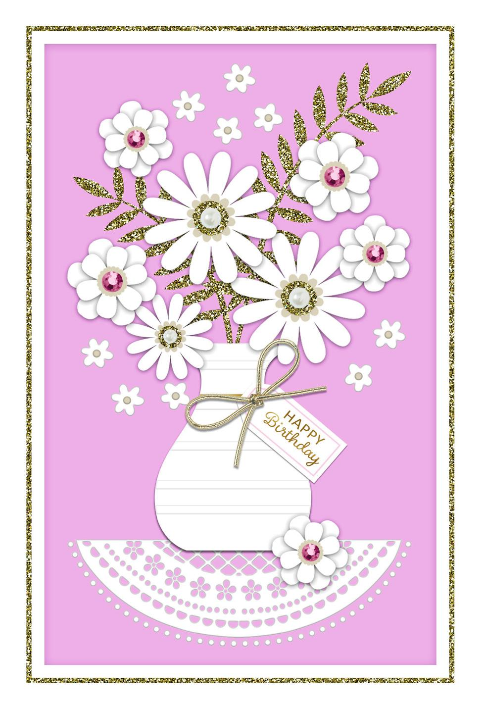 bedazzled flower bouquet birthday card