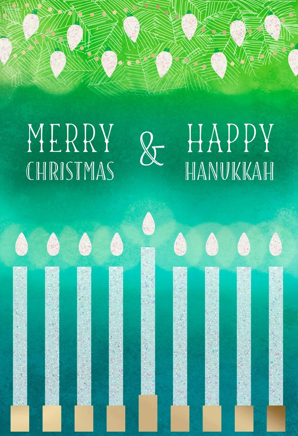 merry christmas and happy hanukkah card