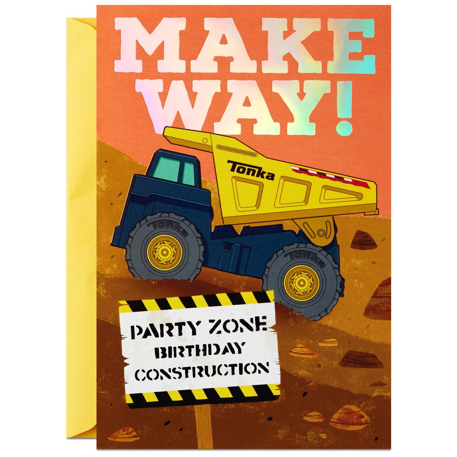 TONKA Construction Trucks Birthday Card for Kid Greeting Cards