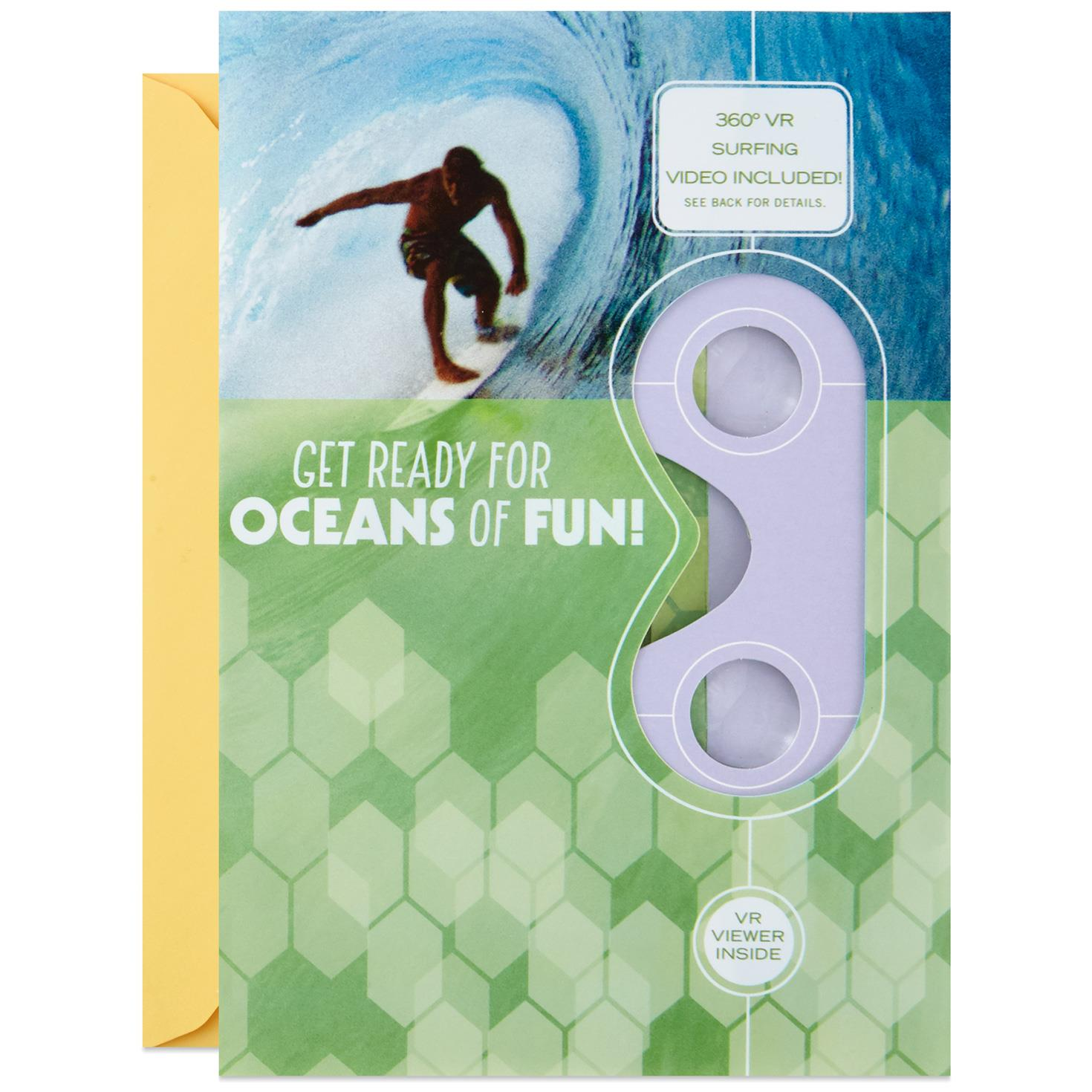 waves of fun surfing vr birthday card greeting cards hallmark