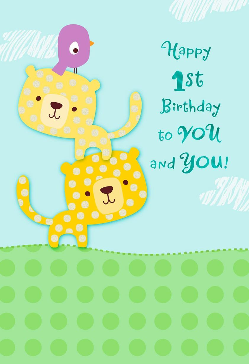 lion cubs 1st birthday card for twins  greeting cards