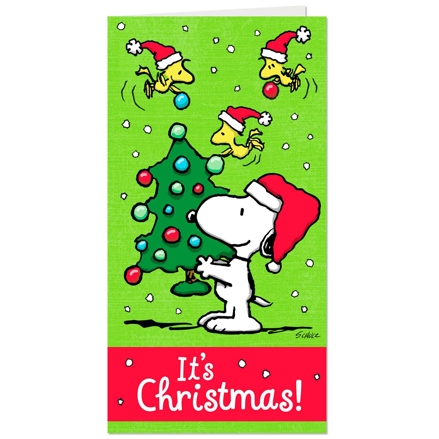 peanuts money holder christmas cards pack of 10 - Photo Holder Christmas Cards