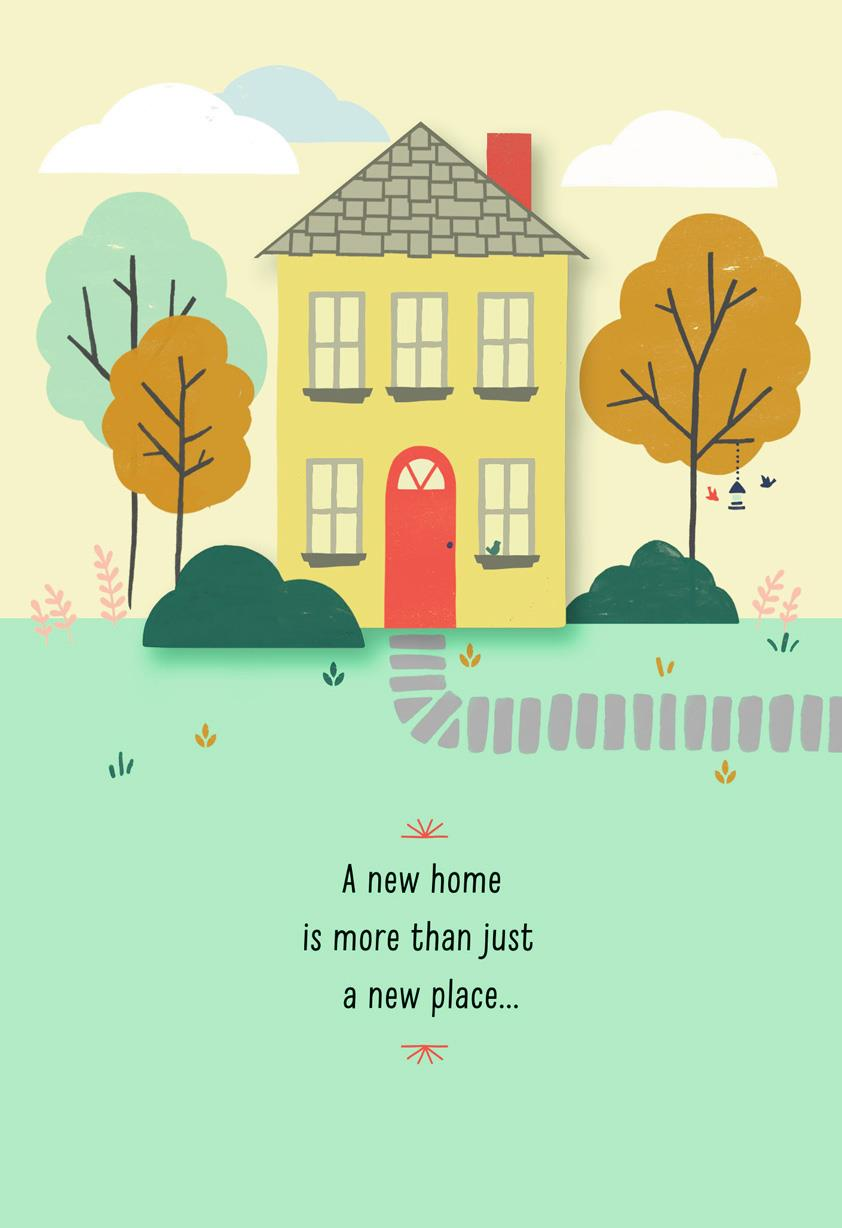 yellow house new home congratulations card