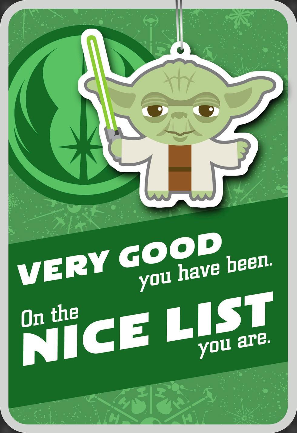 Yoda™ Nice List Christmas Card With Ornament - Greeting ...
